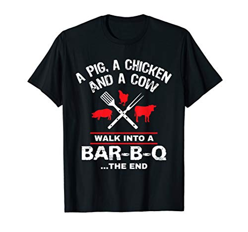 A Pig Chicken Cow Walk Into A Bar Funny BBQ Grilling Shirt