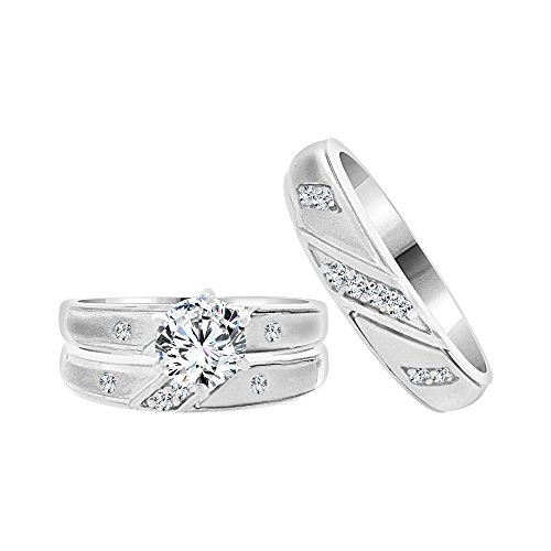 14k White Gold, Matching Trio 3 Piece Wedding Ring Set Round Created CZ Crystals 1.0ct by GiveMeGold