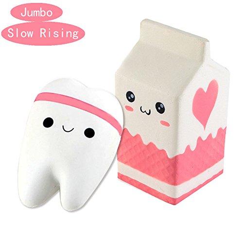 Jatidne Squishy Milk Carton Bottle and Tooth Jumbo Squishies Slow Rising Squishy Toys for (Bottle Carton)