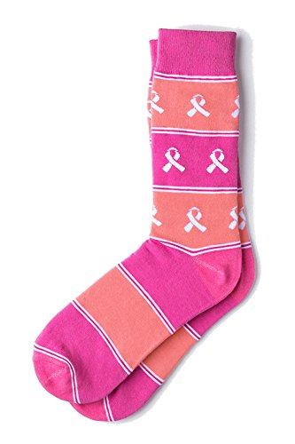 Pink & Salmon Breast Cancer Awareness Ribbon Crew Dress Socks