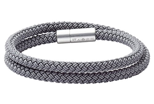 Braided Cable Bracelet (Tateossian RT Rubber, Double Wrap Braided Cable Bracelet with Anodised Aluminum Clasp - Silver, Large 41cm)