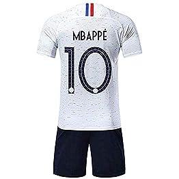 Angel ZYJ Maillots de Football Homme/Enfant de France Soccer Jersey 2018 Coupe du Monde France 2 Étoiles Football T-Shirt et Short