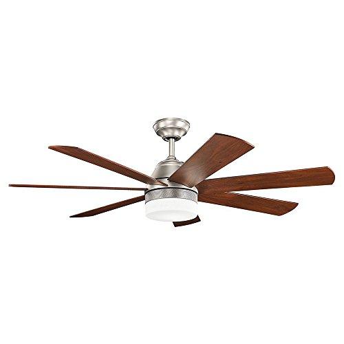Kichler 300239OZ 56 Inch Ellys LED Ceiling Fan, 6 Speed DC Wall Control, Olde Bronze Finish with Cherry/Walnut Blades (Ceiling 56' Transitional Fan)