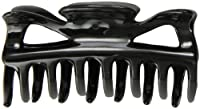 Caravan Traditional With Flair Large Patent Covered Spring Hair Claw In Black