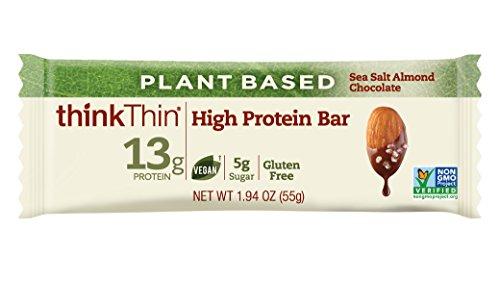 thinkThin High Protein Plant-Based Bars, Sea Salt Almond Chocolate, 1.94 oz Bar (10 Count)