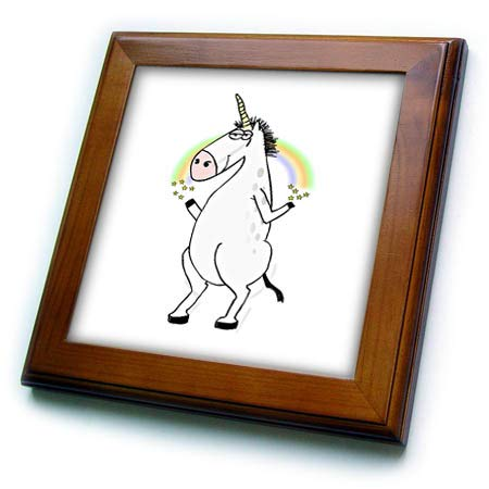 (3dRose Lens Art by Florene - Unicorns - Image of Funny Cartoon Unicorn with Rainbow - 8x8 Framed Tile (ft_315323_1))