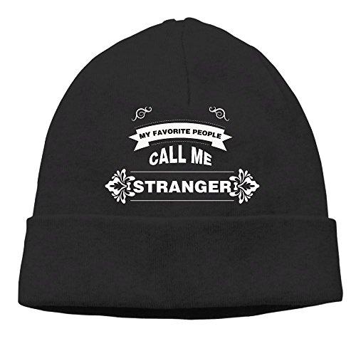 Women My Favorite People Call Me Stranger Warm Hiking Warm Knit Beanie Skull Cap Cuff Beanie Hat Knit Hat/Cap Black (Dodge Camo Ram Beanie)