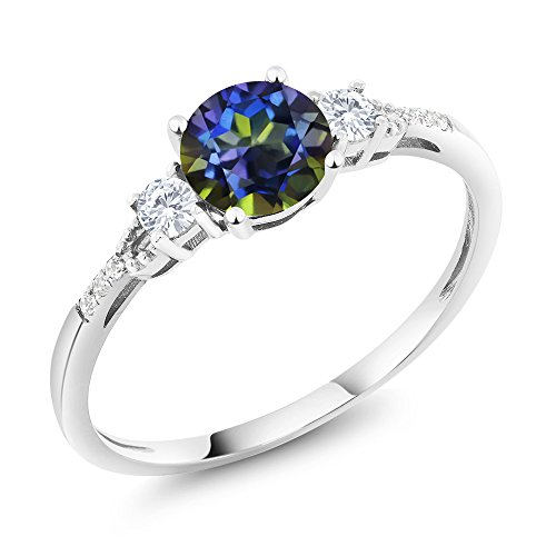 Gem Stone King 10K White Gold Diamond Accent 3-stone Engagement Ring set with Blue Mystic Topaz White Created Sapphire 1.15 cttw (Size 7) ()