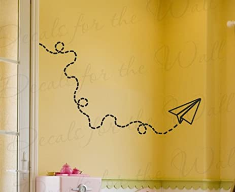 Amazon.com: Paper Airplane Wall Decal - Vinyl Graphic Mural Kids ...