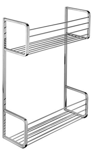 BA Hotel Wall Shower Caddy Double Shelf Organizer for Shampoo, Soap - Brass (Polished Chrome)