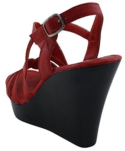 Cambridge Selezionare Donna Open Toe Caviglia Strappy Slingback Piattaforma Piattaforma Sandalo Con Zeppa Rosso