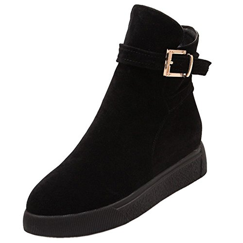 COOLCEPT Women Comfort Platform Zipper Ankle Boots With Belt Buckle Black