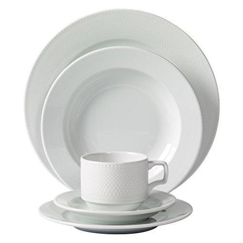 Tabletops Unlimited, Inc. Mitterteich Porcelain Andrea White Debossed Porcelain 20-piece Dinnerware Set