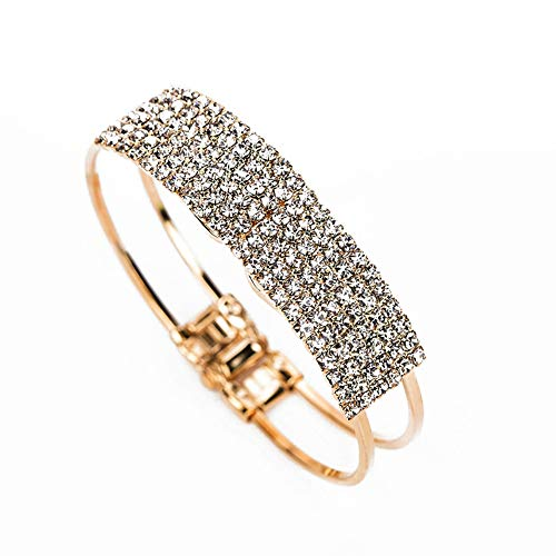 (SL SweetLove Elegant Golden Hollow Wide Bangle with 7 Rows Rhinestone Cuff Bracelet for Prom, Wedding or Party)