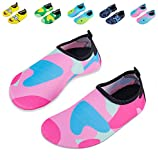 Mabove Kids Swim Water Shoes Non-Slip Quick Dry Barefoot Aqua Pool Socks Shoes for Boys & Girls Toddler (Camouflage Pink, 30/31EU)