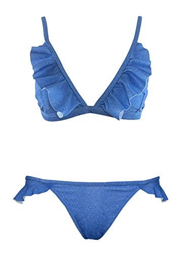 Futurino Women's Ruffle Denim Self Bow-tie Back Triangle Bikini Set Swimsuits -