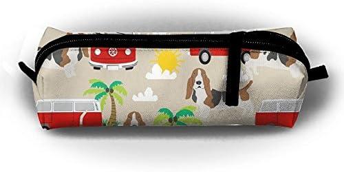 Basset Hound Dog Beach Bus Hippie Bus Palm - Estuche para lápices, bolsa de papelería, bolsa de cosméticos con cremallera para niñas, niños, escuela, estudiante, papelería, suministros de oficina: Amazon.es: Hogar