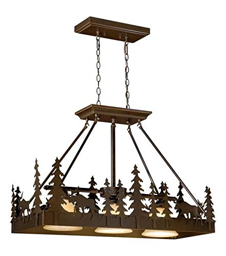 (Burnished Bronze Yellowstone 3 Light 36 inches Wide Linear Chandelier with Moose)