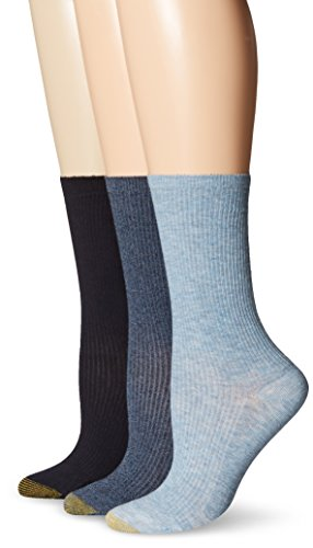 Gold Toe Women's Non-Binding Rib Crew Sock, Denim, 6-9 (Pack of ()