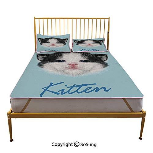 Cartoon Decor Creative Queen Size Summer Cool Mat,Portrait of Domestic Kitten Newborn Bicolor Fury Head Pink Wet Nose Artsy Graphic Sleeping & Play Cool Mat,Black White Blue]()