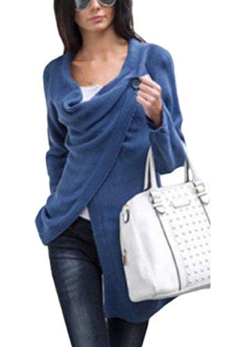 Le Donne Di Maglia Maglia Pulsante Wrap Cardigan Outwear Blu