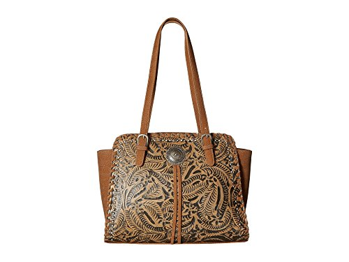 American West Women's Trinity Trail Zip Top Tote Tan Handbag