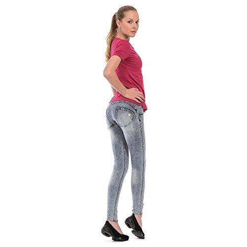 Freddy Wrup Evolution - skinny Mujer Avorio (Blu Slavato Cuciture Gialle J19y)