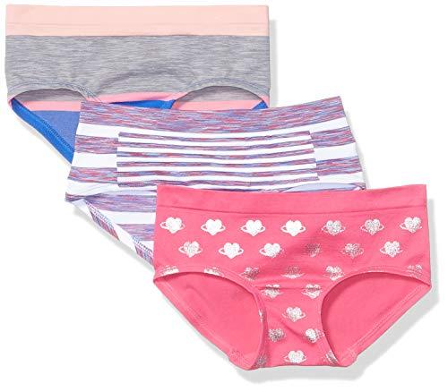 Maidenform Little Seamless Girl Short Underwear Panty, Multipack, Navy, Grape Stripe, Pink Print, M