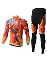 Cycling Suit Long-Sleeved Suit, Bicycle Suit, Spring and Autumn Moisture Wicking and Quick-Drying Pants,Mens Cycling Clothing Set