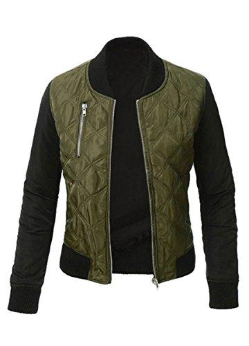 Cremallera Casual Capa Jacket Bomber Chaqueta BLACKMYTH Abrigo Biker Verde Acolchada Mujer Abajo pT7HWqw5Z