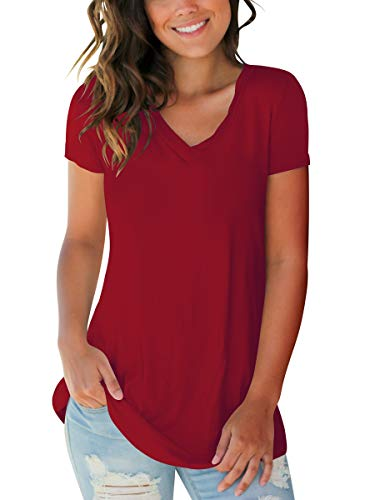 SAMPEEL Womens Tee Shirts Short Sleeve V Neck Basic Tops Summer Clothes Burgundy M (Short Sleeve Long Tee)