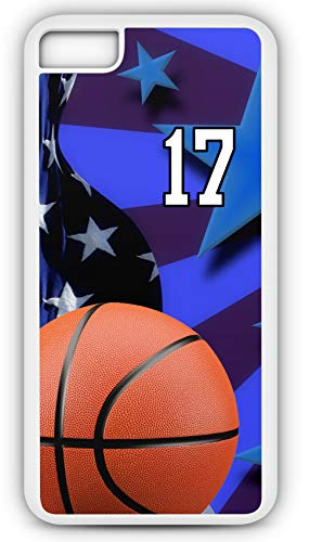 iPhone 7 Plus 7+ Case Basketball BK020Z Choice of Any Personalized Name or Number Tough Phone Case by TYD Designs in White Plastic and Black Rubber with Team Jersey Number 17 (Necklace Fabric Jasper)