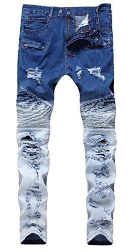 - Qazel Vorrlon Men's Biker Moto Distressed Destroyed Fashion Skinny Fit Jeans W36 1715-blue