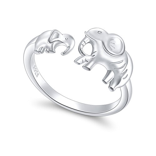 S925 Sterling Silver Elephant Little Mother and Child Adjustable Wrap Open Ring for Women Jewelry ()