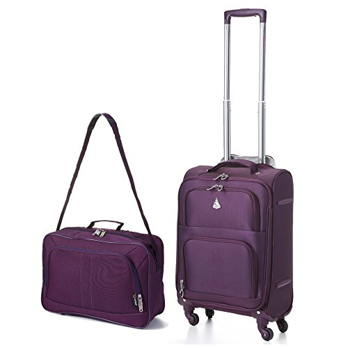 Aerolite 22x14x9' Carry On MAX Lightweight Upright Travel Trolley Bags Luggage Suitcase, 4 Wheel...