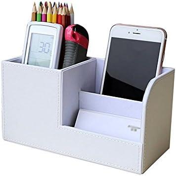 Lumanuby 1 Stück Geschäftsstil Stiftebox aus PU 3-halter Tisch-Organizer für Stifte /Handys/Namenskarten/Fernbedienung 20.3*9.3*11.1cm, Stifthalter Serie (Weiß)
