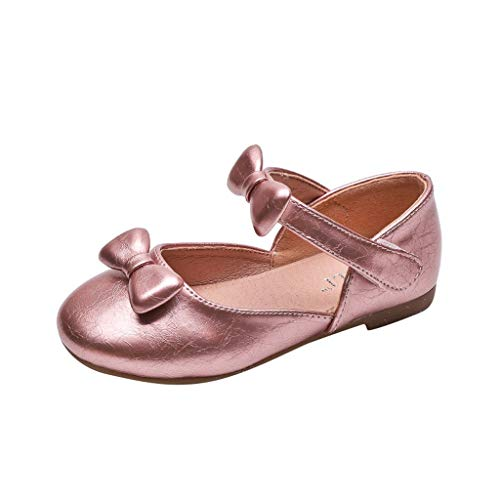 Tantisy ♣↭♣ Girl's Sandals Mary Jane Shoes with Bowknot Comfy Flat Sandals Baby Girl Dress Shoes (Little Kid/Big Kid) Pink
