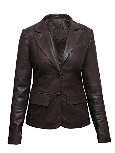 Blazer Femmes Cuir Slim Mesdames Fit Regardez Marron Veste Brandslock Designer Manteau Biker Wg1Cqcc