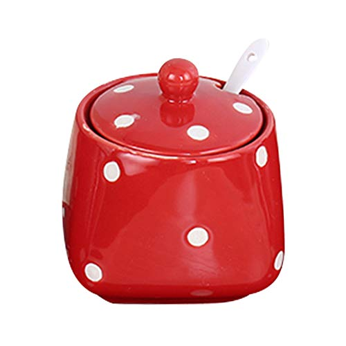 - Ceramics Dot Pattern Sugar Bowl Spice Jar with Lid and Spoon Seasoning Box Condiment Pots Red