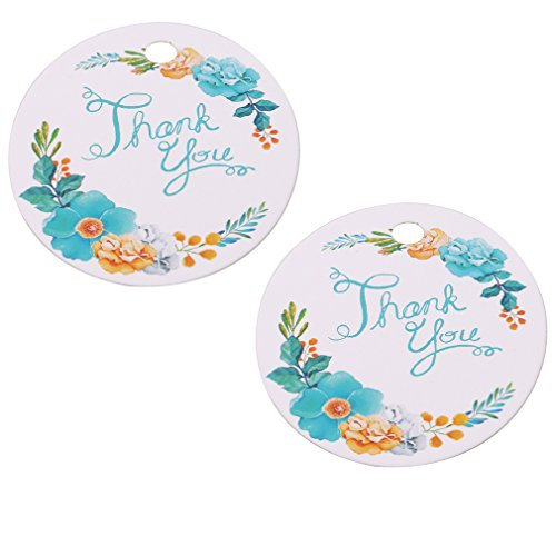 - SOURBAN 50pcs Lovely Personalized Thank You Paper Gift Tags Flowers Thanks Baking Bags Decoration Wedding Baby Shower Graduation,Thankyou Blue Word