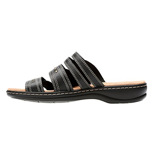 CLARKS Womens, Leisa Lakia Slide On Sandals Black 7.5 M