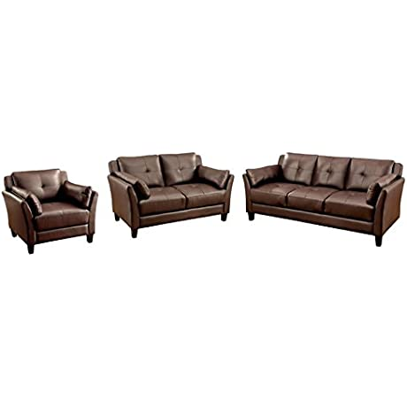 Furniture Of America Harrelson 3 Piece Leatherette Sofa Set In Brown