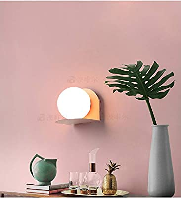 LITFAD Modern Industrial Wall Sconce Globe Shade Mini Macaroon Wall Light for Corridor Stairway and Indoor 4 Colors for Option