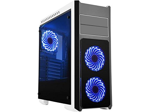 DIYPC DIY-TG8-BW Black Dual USB3.0 Steel/ Tempered Glass ATX Mid Tower Gaming Computer Case w/Tempered Glass Panels (Front, Top and Both Sides)