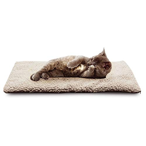- Lebeauty Dog Bed Pet Cushion Crate Mat Soft Pad Washable and Cozy Self Heating Dog Cat Pet Bed Thermal Washable No Electric Blanket Required for Medium Large Dog 64cm x 46cm White