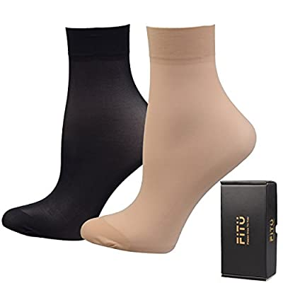 Fitu Women's 10-12 Pairs Nylon Ankle High Tights Hosiery Socks