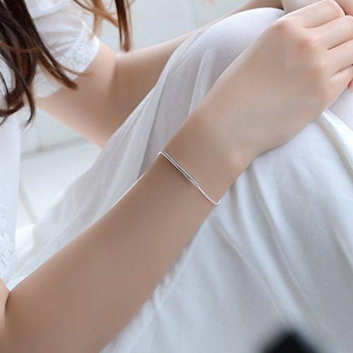 Tubing Cuff (Women Gift Bracelet Bangle Personalized Excellent Sweet Women Girls Student Girlfriend Women Girls Chain Sterling Silver Bell Ornaments Gift (Bracelet Chain Cassette tubing)
