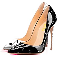 YCG Women's High Heels Pumps Cow Pattern Printing Slip on Shoes