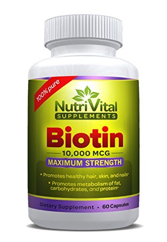 Biotin 10000 MCG by NutriVital Supplements: Vegetarian Capsule, Maximum Strength, 100% Pure Vitamin Supplement for Hair, Skin, and Nails 41GS4h4YxyL