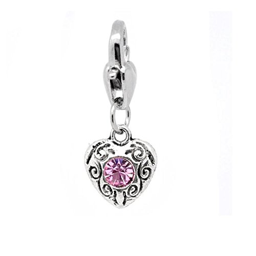 Clip-on Birthstone Rhinestone Heart Charms